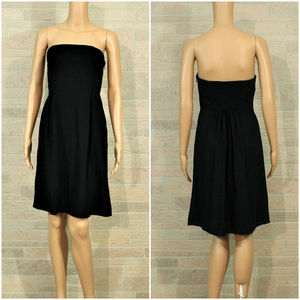 Old Navy TALL Black Strapless Pleated Linen Dress